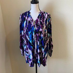 Anne Klein XL Fun Print Zip Up Long Sleeve Shirt